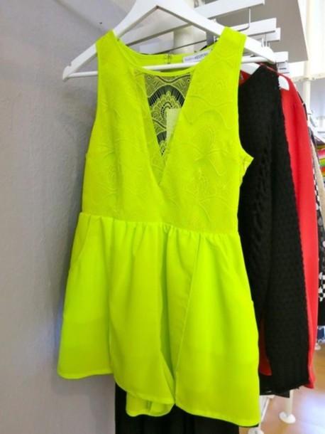 fluro yellow yellow dress neon blouse dress tumblr crazy yellow clothes jumpsuit yellow vintage jumpsuit fluo yellow fluro yellow jumpsuit lace