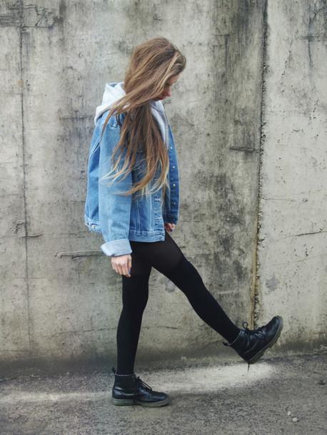 denim jacket leggings black leggings black boots