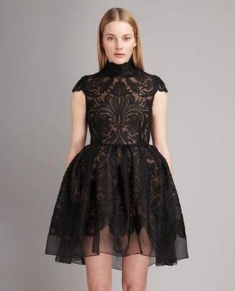 dress black lace black embroidered dress black dress little black dress high neck cap sleeves organza designer stella mccartney