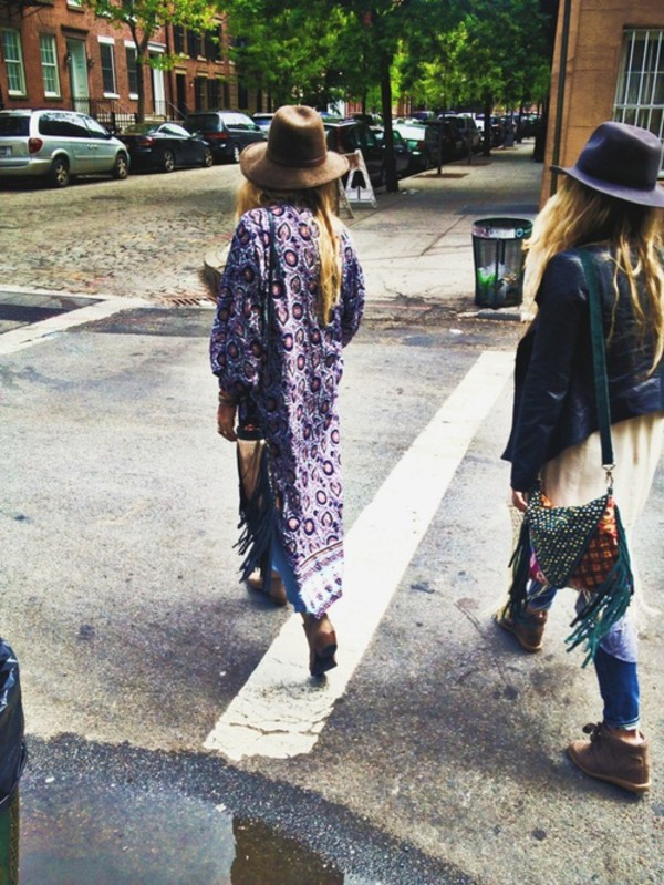 blouse long dress kimono colorful pink hippie hat bag