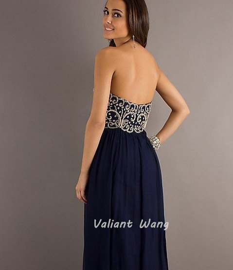 Navy Chiffon Crystal Prom Dress Sweetheart by Valiantwang on Etsy