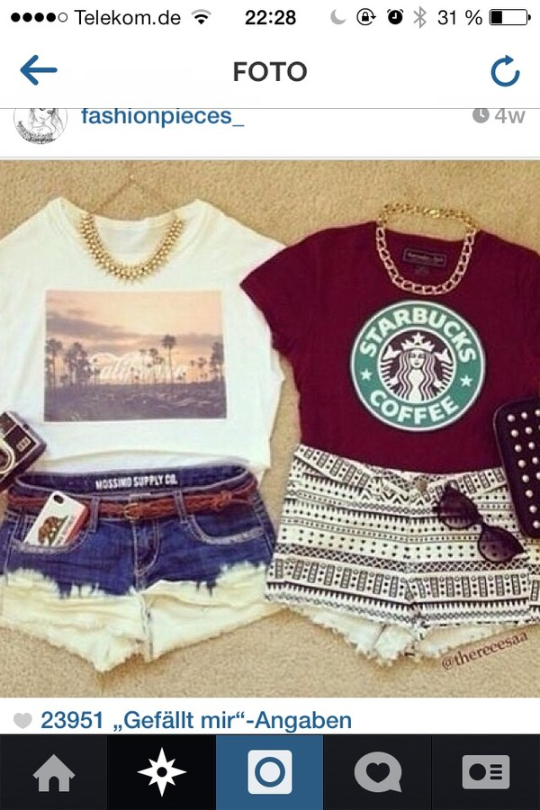 shirt shorts starbucks coffee tank top jewels t-shirt