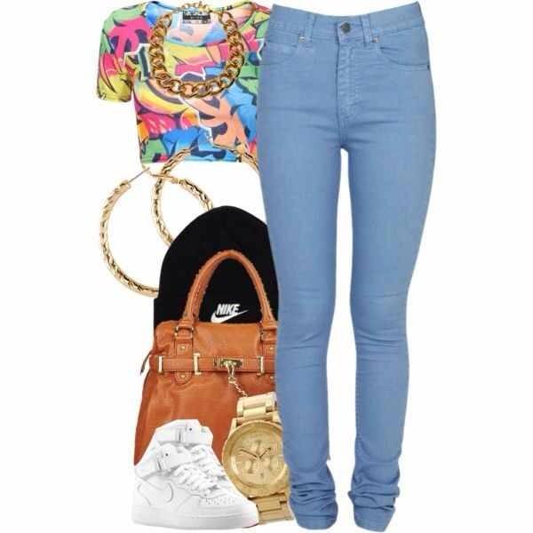 shirt jeans hat bag jewels shoes