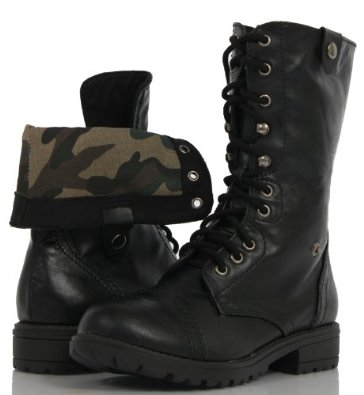 Amazon.com: Girl's Black Lace-up Combat CAMOUFLAGE Folded Cuff Riding Mid-Calf Boots Toddler/Little Kid: Shoes
