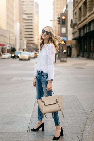 fashionjackson blogger top jeans shoes bag sunglasses jewels handbag white blouse blouse pumps high heel pumps