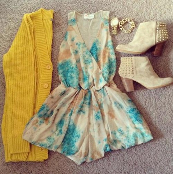 dress cardigan romper flowers floral pretty cute hipster shoes accessories jewelry bracelets watch studs boots heels ankle boots jacket jewels sweater