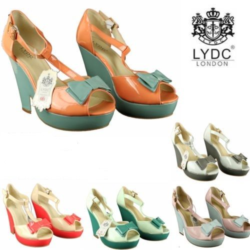 LYDC Patent Bow Peep Toe High Heels Wedding Party Evening Wedge Shoes Gift Boxed | eBay