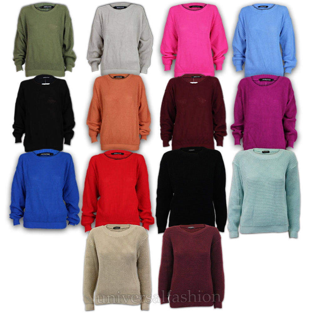 Damen Pullover Grob Gestrickt U Ausschnitt Strickpullover Top   eBay