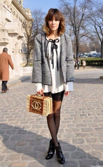 blouse alexa chung bag basket bag nude bag chanel chanel bag top white top jacket grey jacket tights boots ankle boots flat boots black boots fashionista boxed bag