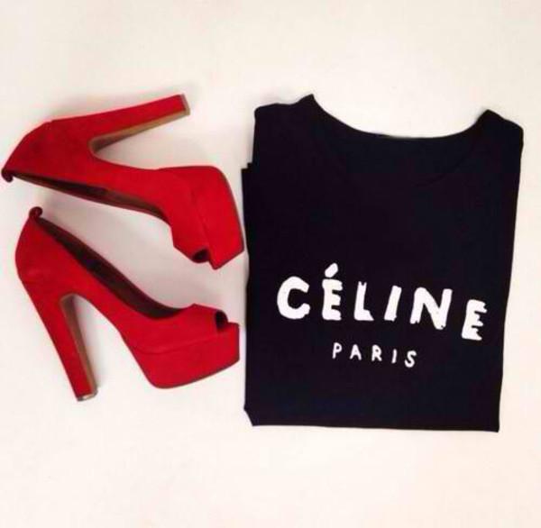 t-shirt t-shirt celine shoes