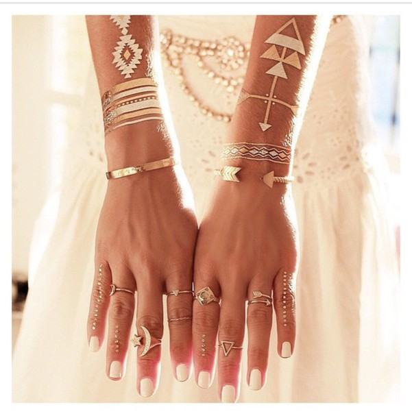 jewels boho bohemian gypsy ring ring bracelets bracelets make-up temporary tattoo lifestyle boho jewelry