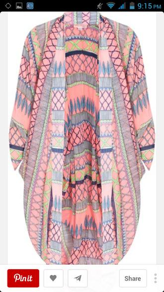 cardigan kaftan tribal pattern