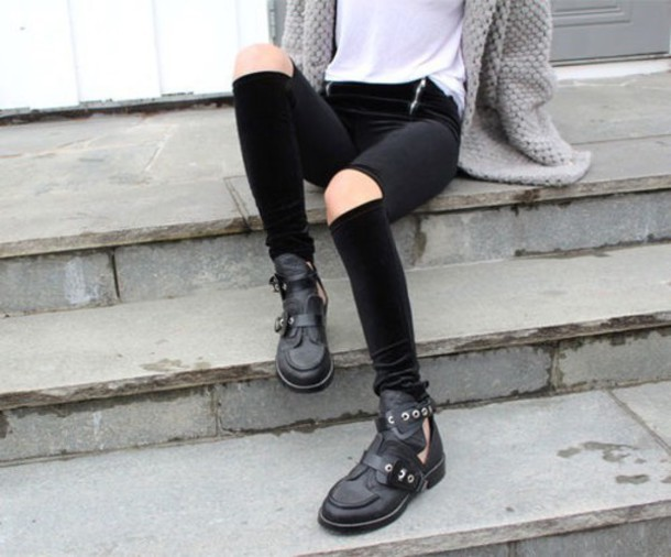 black boots cut out ankle boots shoes