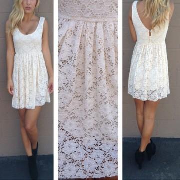 I Love Cute Fashion Basic lace crochet dress