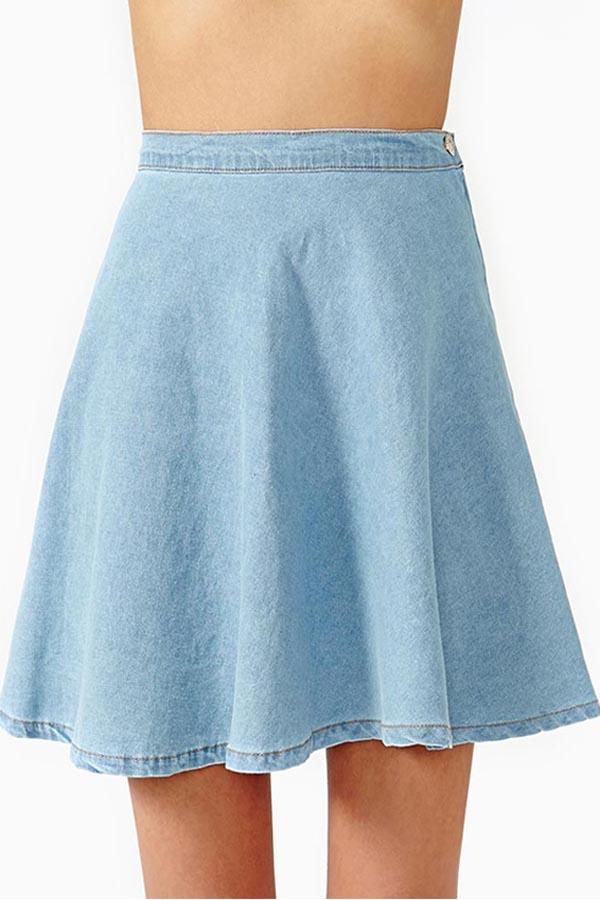 Light Blue Flared Denim Skirts @ Skirts,Maxi Skirt,Pencil Skirt,Leather Skirt,Plaid Skirts,Mini Skirts,Short Skirts,High Waisted Skirts,Long Skirts,Ruffled Skirts,Casual Skirts,Denim Skirts,Sexy Mini Skirts,Pleated Skirts,A Line Skirt,Midi Skirt,Black Skirts,Jean Skirts,Cute Skirts