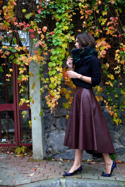 skirt burgundy skirt burgundy scarf plaid flannel scarf plaid heels low heels blue heels black sweater