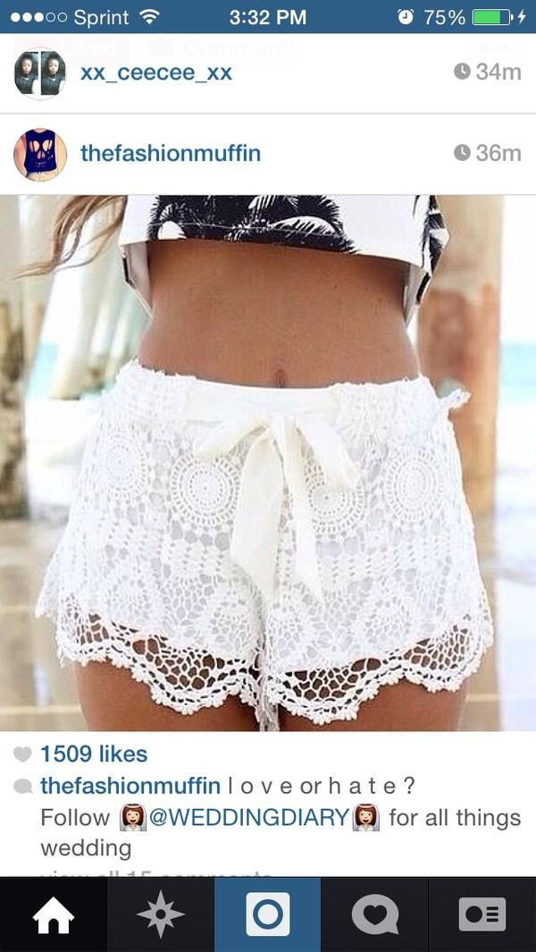 shorts white lace lace shorts white lace shorts cute