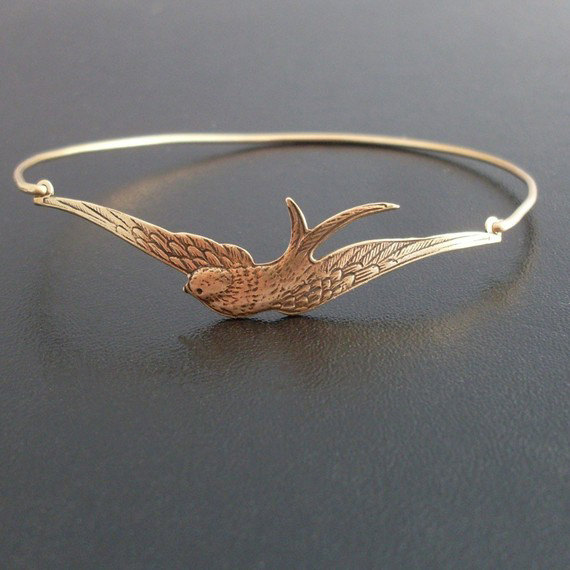 Swallow Bangle Swallow Bracelet Swallow Jewelry by FrostedWillow
