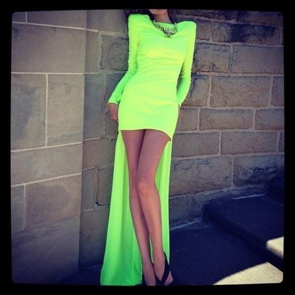 dress clothes neon mullet dress long sleeve dress yellow