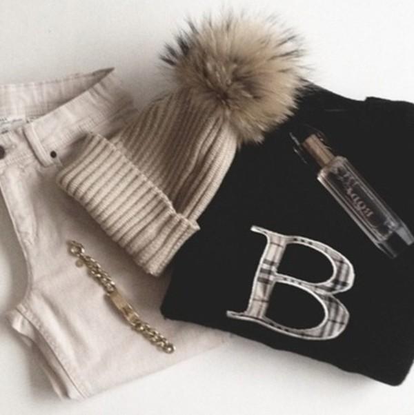 hat winter outfits winter hat fur cute beige creme jeans bottoms sweater burberry bracelets gold gold bracelet jewels perfume clothes black pom pom beanie top