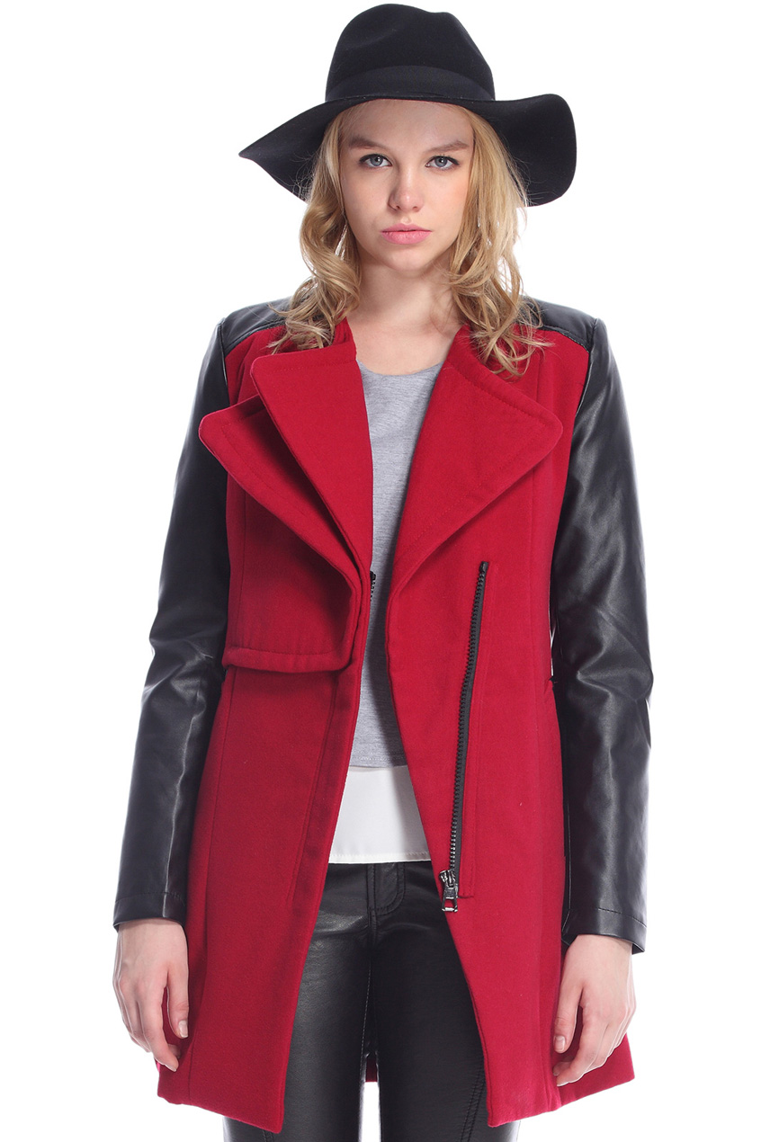 ROMWE | ROMWE Faux Leather Panel Zippered Burgundy Coat, The Latest Street Fashion