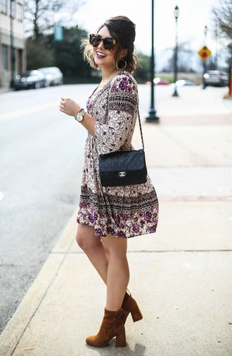 life & messy hair blogger dress jewels sunglasses bag shoes chanel bag mini dress ankle boots