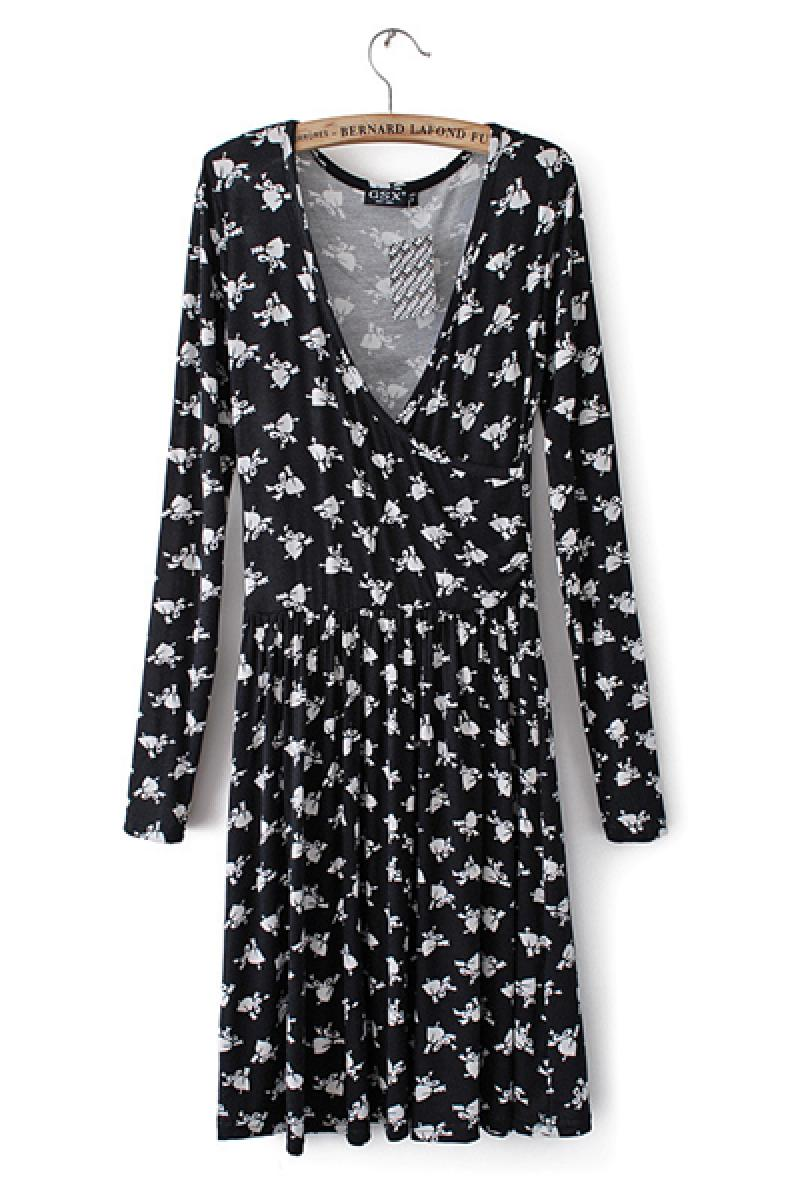 2014 Spring & Summer New Section Western Printed Long Sleeve V Neck Sexy Dress,Cheap in Wendybox.com
