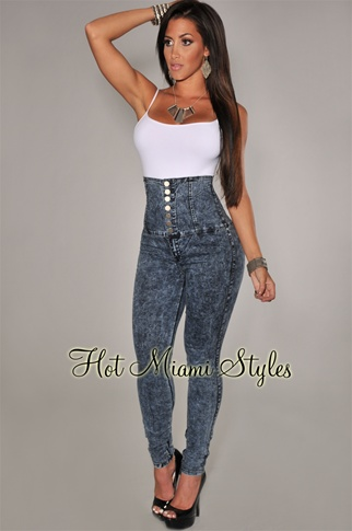 Acid Wash High Waist Button Skinny Jeans