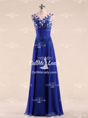 Bleu royal applications sans manches longues robes de soirée - CallMeLady