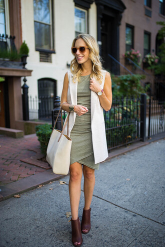 katie's bliss - a personal style blog based in nyc blogger shoes dress jacket bag sunglasses jewels shirt green dress bodycon dress sleeveless white bag purple ankle boots