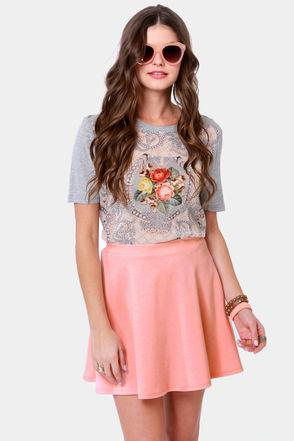 Cute Pink Skirt - Mini Skirt - Skater Skirt - $25.00