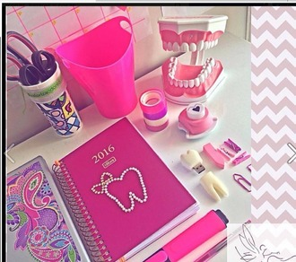 home accessory pink office supplies teeth jewel teeth cute girly violet