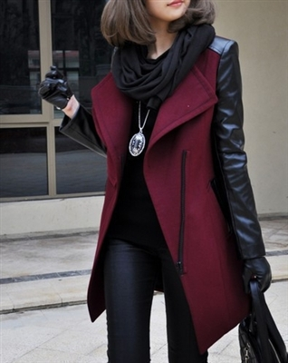 Womens Leather Sleeved Wool Trench Coat