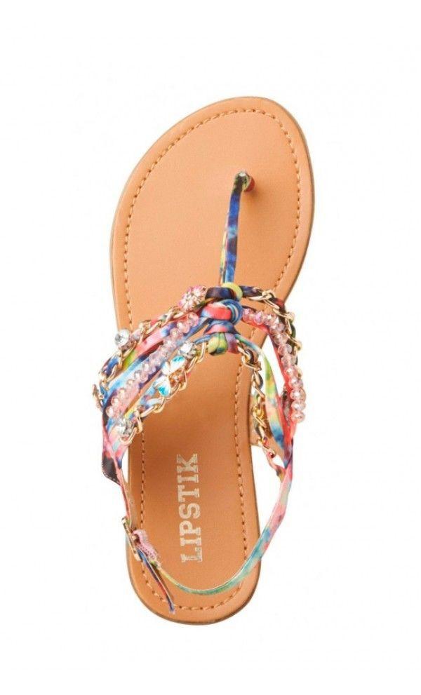 Shoes Flat Sandals Beaded Sandals Toe Sandals Multi