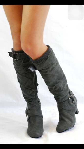 shoes gray boots heel