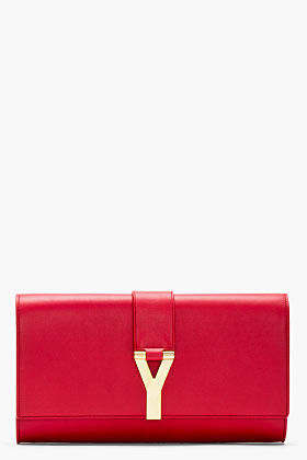 Saint Laurent Red Leather Y Clutch for women | SSENSE