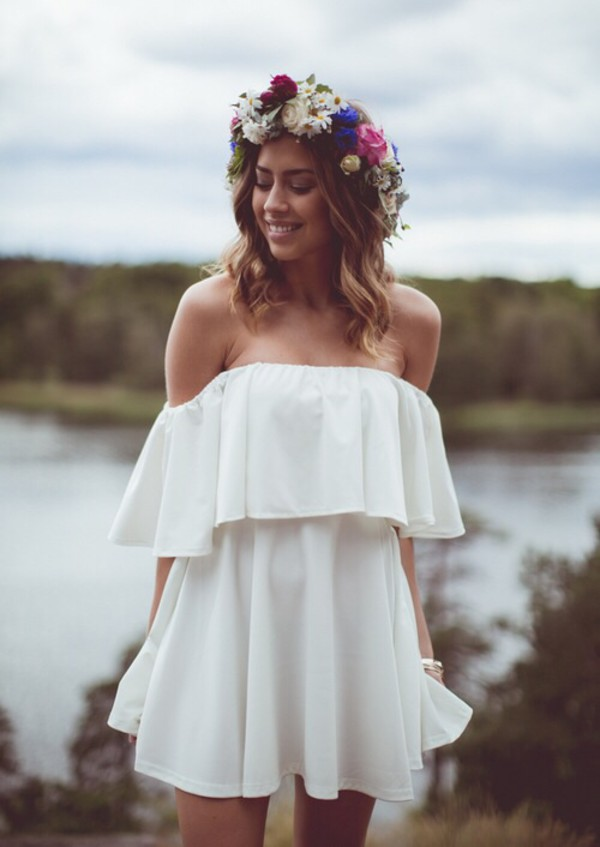 flower crown summer outfits summer dress short dress off the shoulder spring outfits coachella white dress hair accessory