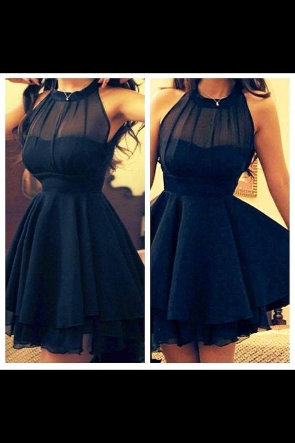 dress black cute see through