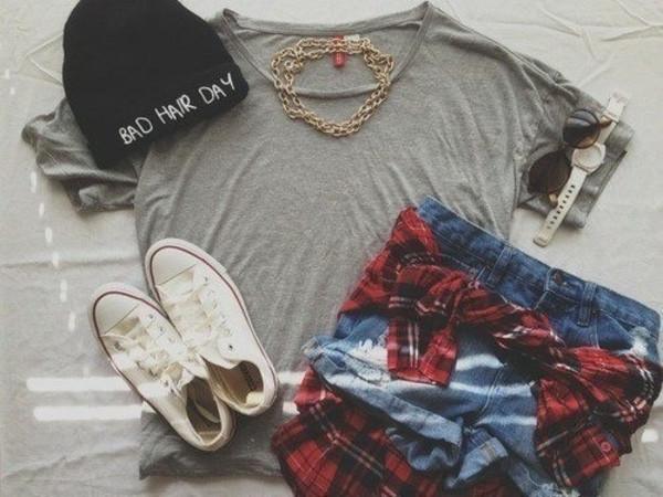 hat converse plaid shirt denim shorts sunglasses watch necklace grey t-shirt cut offs jean cutoffs High waisted shorts