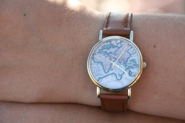 map print map watch brown watch jewels