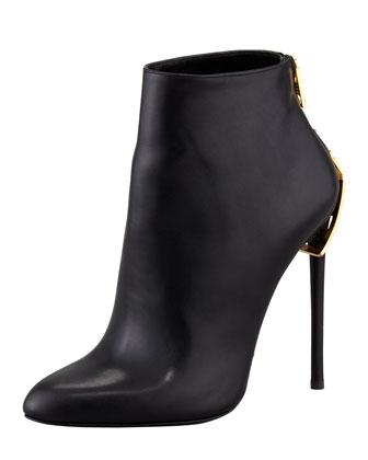 Saint Laurent Crisscross Leather Ankle Boot, Black - Bergdorf Goodman
