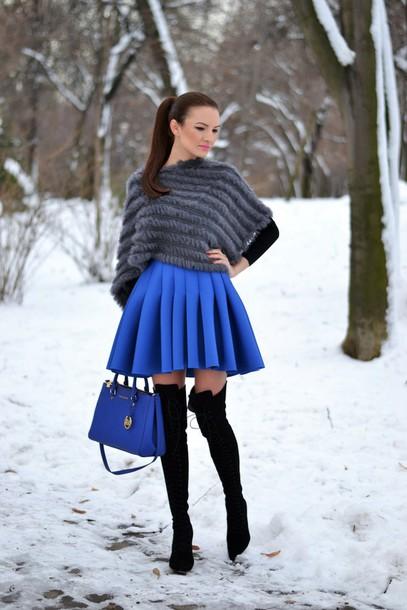 my silk fairytale blogger circle skirt blue skirt faux fur charcoal