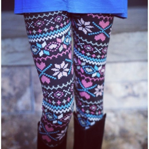 pants coulorful pink blue leggings snowflake leggings leggings hipster