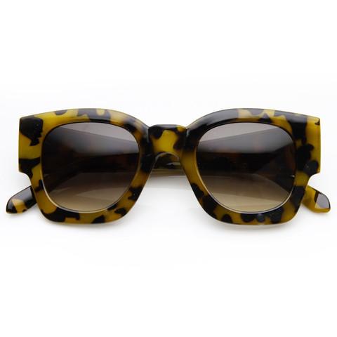 Womens Retro Thick Bold Frame Wayfarer Sunglasses 8777                             zeroUV