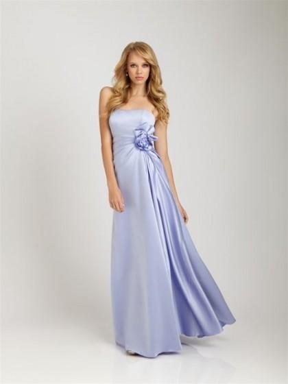 Satin Strapless Purple Long A-Line Wedding Bridesmaid Dress