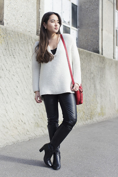 blaastyle blogger leather pants knitted sweater red bag bag pants shoes sweater jewels