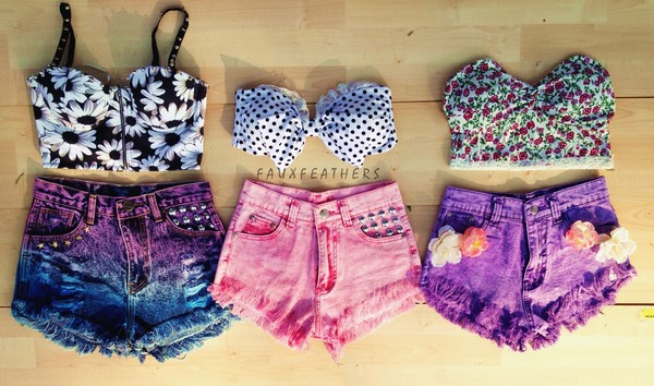 tank top bustier bustier bralette bralette floral vintage bow dyed shorts polka dots dip dyed High waisted shorts studs studded hipster