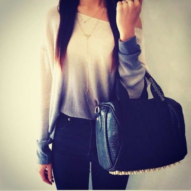 black bag black jeans white sweater beige sweater statement necklace sweater bag fade top ombre sweater ombre soft off the shoulder
