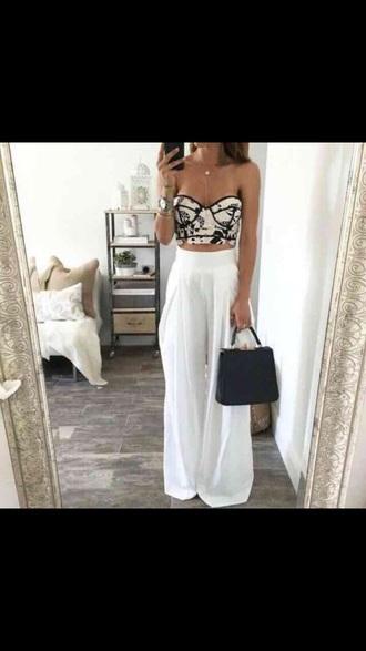 top black white crop tops pants
