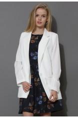 Charms One-Button Boyfriend White Blazer - Retro, Indie and Unique Fashion